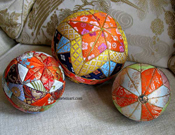 Three antique kimekomi balls